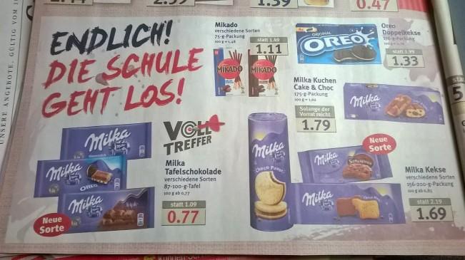 Schokolade statt Stifte in die Schultüte: Werbeprospekt des Combi-Marktes erschienen am 18. Juli 2016