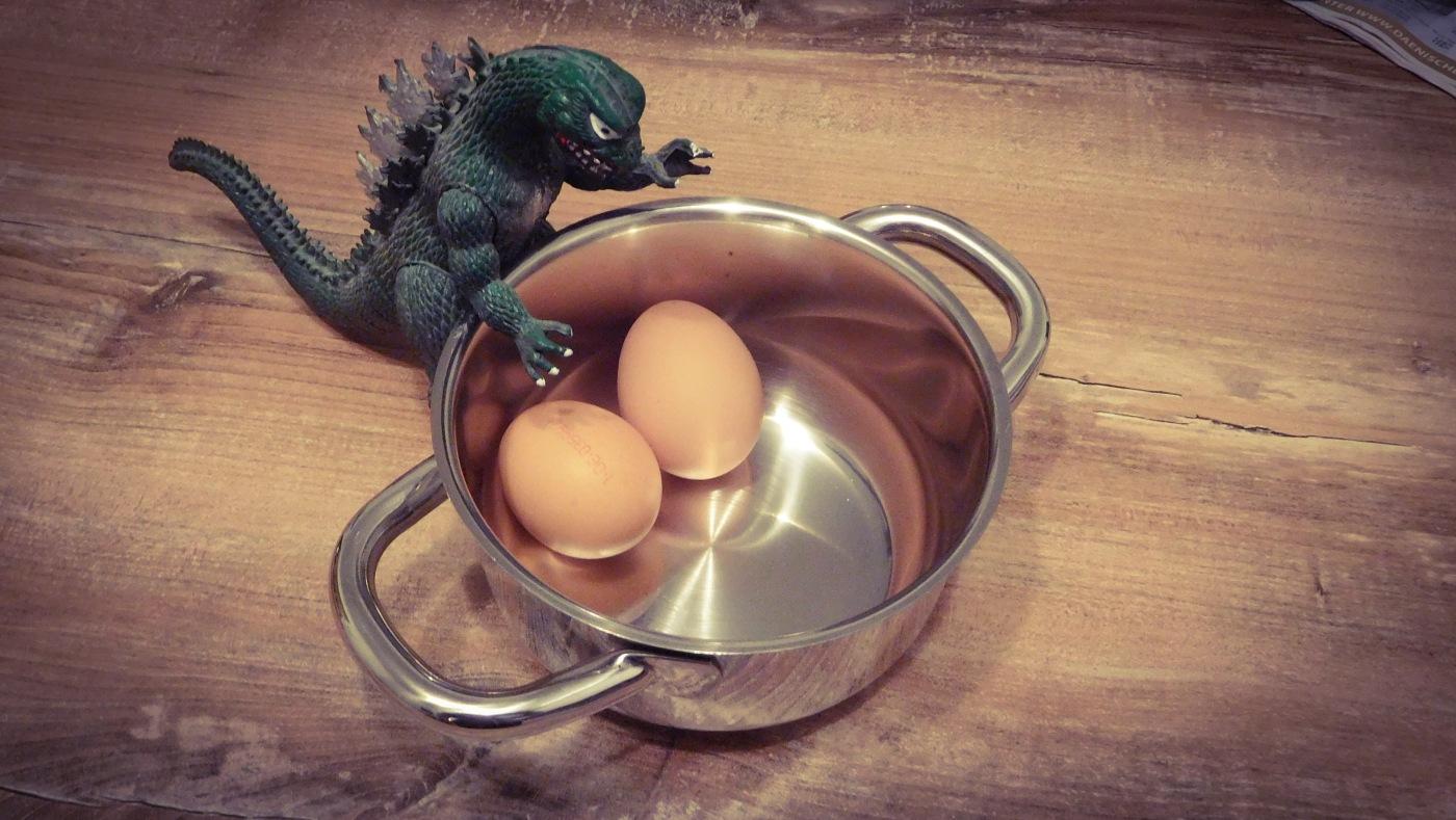 Der neue Stefan versucht, im Möbelhaus einen Kochtopf für Eier zu kaufen.