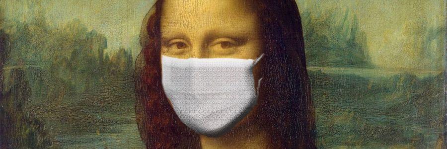Gemälde der Mona Lisa mit Mundschutz