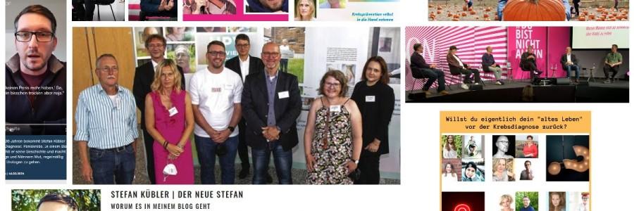 Collage aus mehreren Bildern von Stefan Kübler bei mehreren Veranstaltungen zum Thema Krebs.